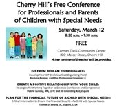 Cherry Hill's Free Conference for Professionals and Parents of Special Needs Flyer