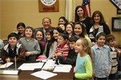 Mayor Cahn with Politz School