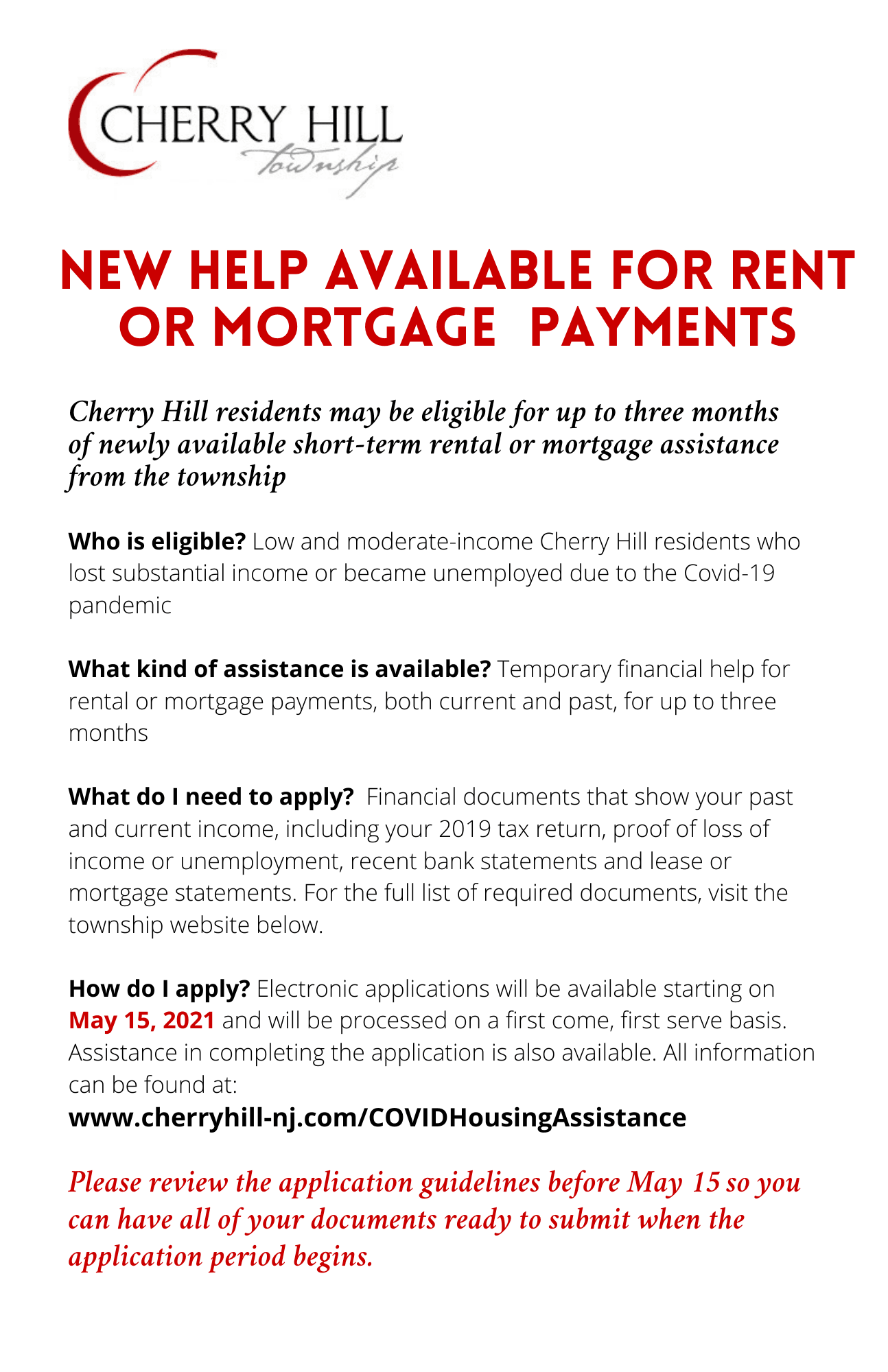 Rental and mortgage assistance program flyer