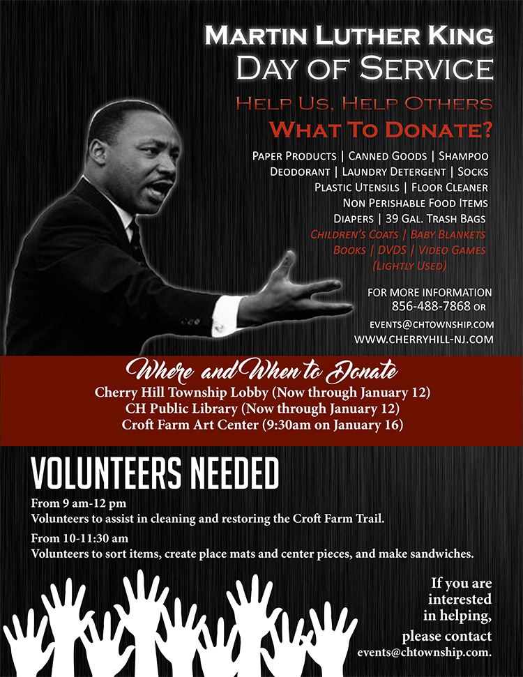 MLK flyer donate and volunteer