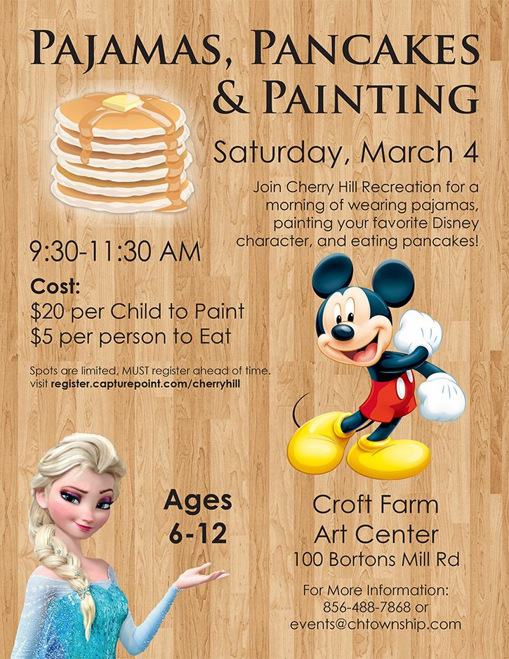 Pjs pancakes and painting flyer