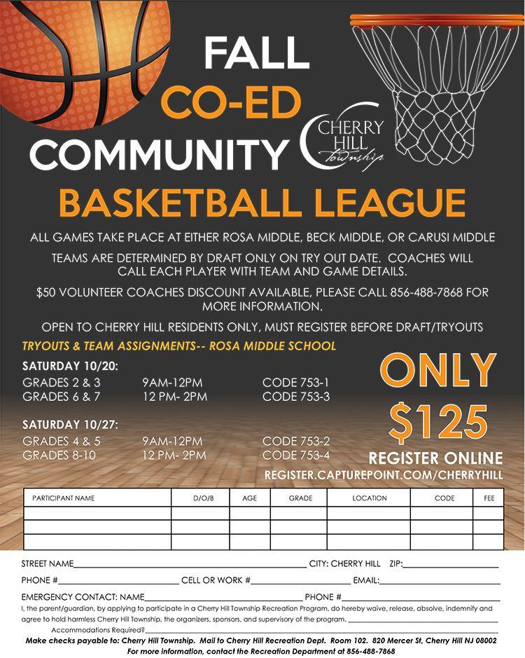 co ed basketball flyer 2018