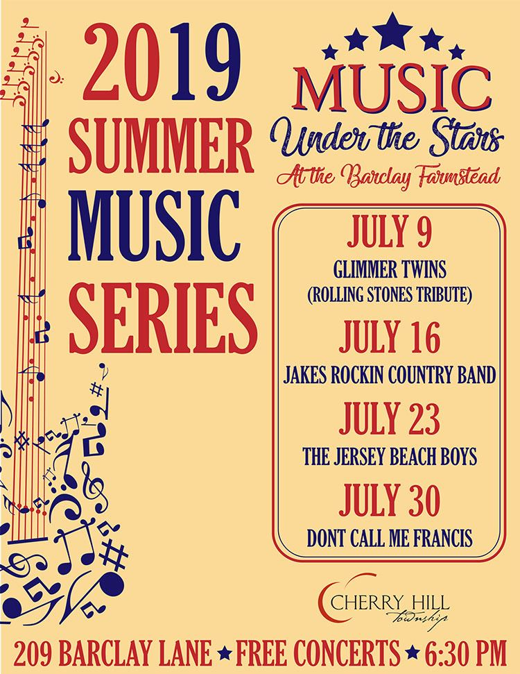 2019 summer music flyer july 9, 16, 23, and 30 at Barclay Farmstead