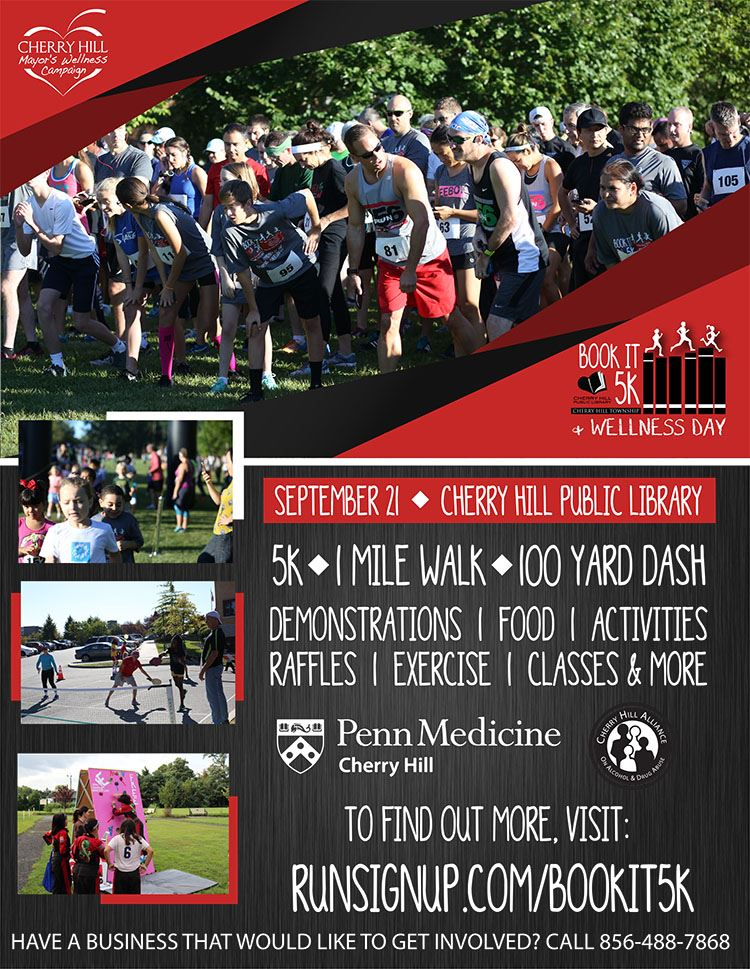 Book It 5k 1 mile walk or 100 yard dash September 21 Cherry Hill Public Library