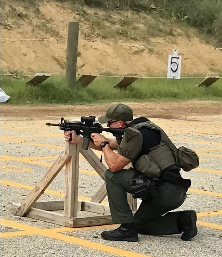 Tactical Response Team Member Training, Crouching Behind Cover with Rifle