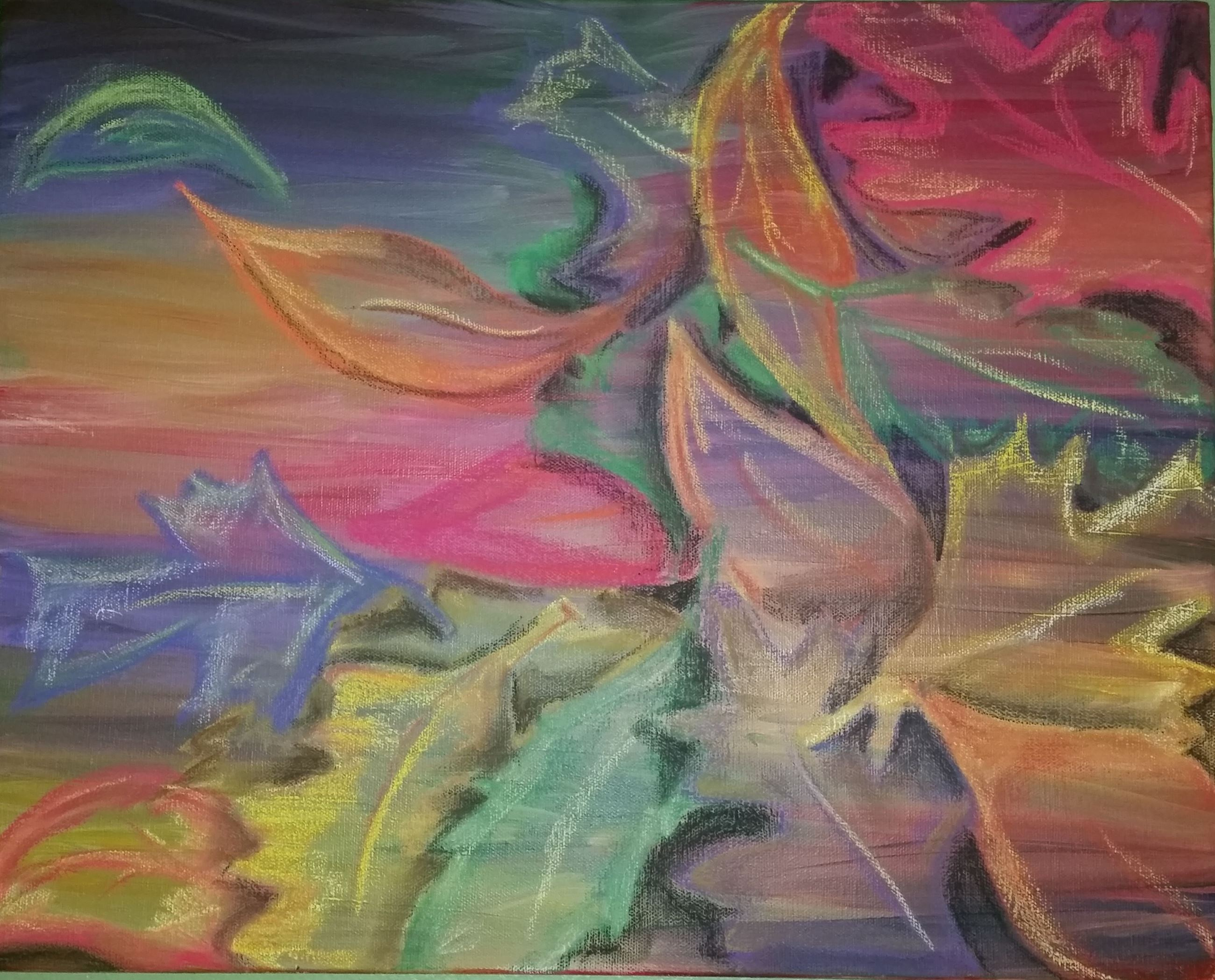 pastel painting of leaves