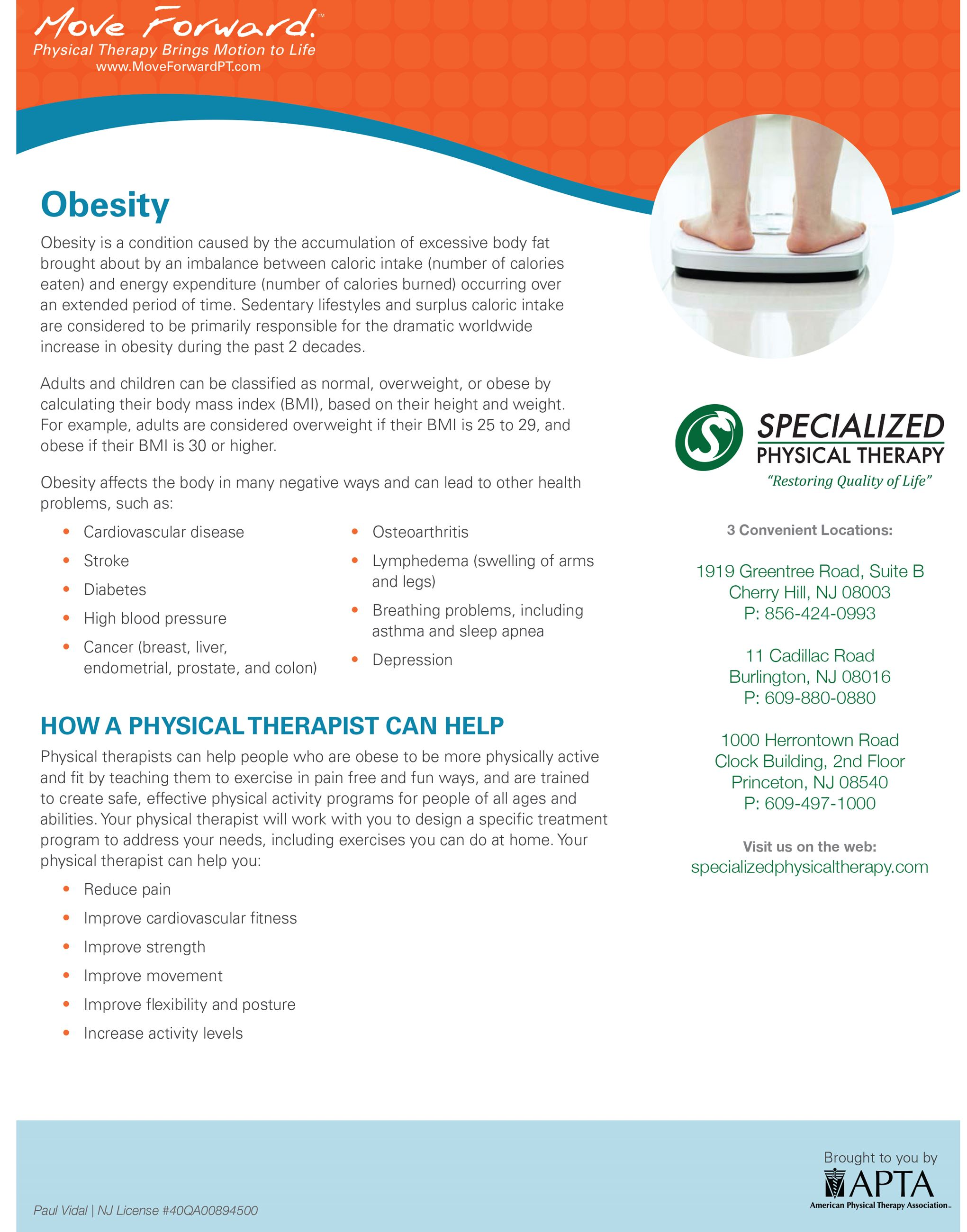 Specialized Physical Therapy - Obesity Flyer (PDF) Opens in new window