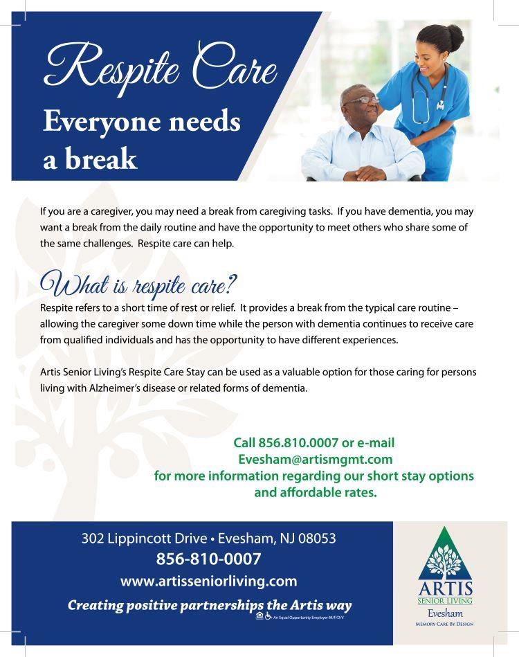 Artis Evesham Respite Care Flyer (PDF) Opens in new window