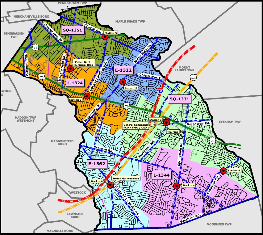 Map of Cherry Hill - Fire Response Locals and Stations